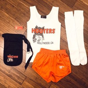 Authentic HOOTERS Uniform, NameTag, Socks & Pouch